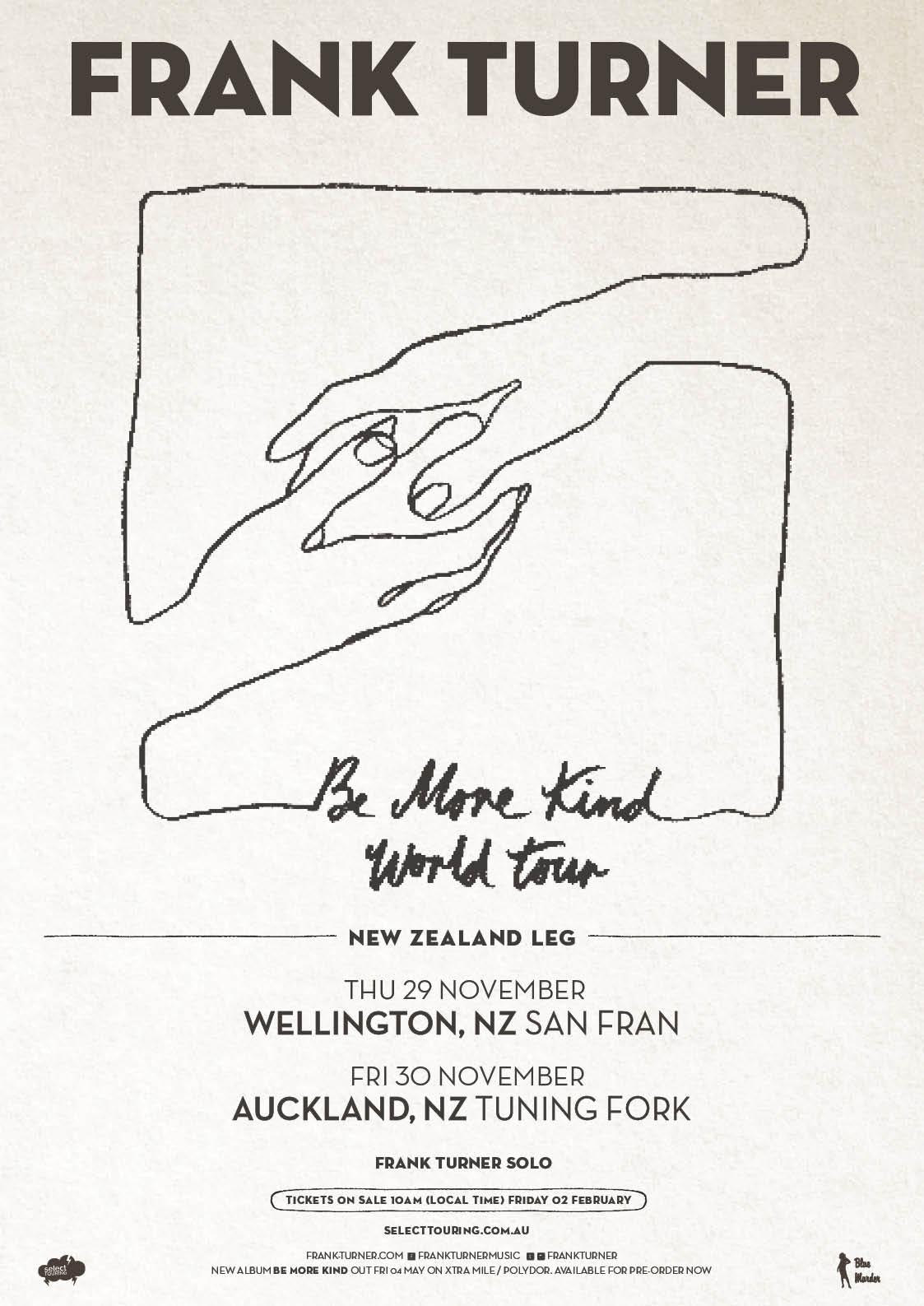 Frank Turner NZ Be More Kind Poster